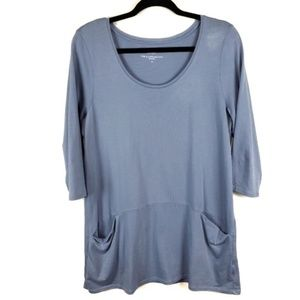 Pure Jill curved seam tunic light blue siz M